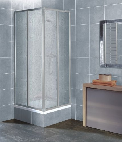 Eckeinstieg Duschkabine Kunststoffglas Tropfendekor Silberne Profile Links 73 bis 88 und Rechts 68 bis 83cm Sondermass