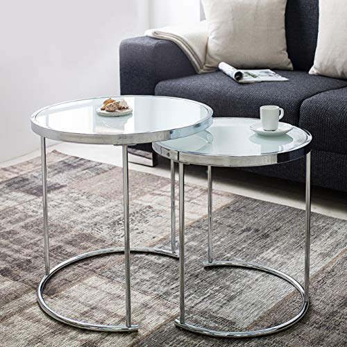 cagü: Design 2er Set Beistelltische [SATURNUS] Weiß Opalglasplatte mit Chromgestell 51cm/45cm Höhe Art Deco