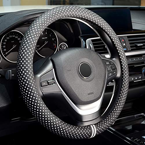 Labbyway Microfiber Leather Car Steering Wheel Cover, for 14.5 in-15 in Outer Diameter Steering Wheel Cover,Black and White