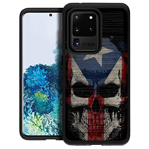 CasesOnDeck Slim Fitted Case Compatible with [Samsung Galaxy S20 Ultra / S20 Ultra Case] [Brushed Armor] Shock Corner Protecting Case w/Design (Puerto Rico Skull)