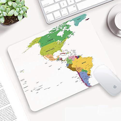 Alfombrilla Ratón 320x250 mm,Mapa, Mapa de América del Sur y del Norte con Países Capitales y Ciudade,Antideslizante e Alfombrilla goma Impermeable Ideal para Portátil, Teclado, Gaming Hogar y Oficina