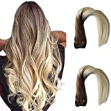 Ombre Sew in Hair Extensions Human Hair Balayage Brown Roots to Platinum Blonde Remy Hair Wefts Natural Weave Bundles Seamless Double Weft Straight Brazilian Hair Bundles for Women 18 Inch 100g