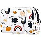 Bolsa de cosméticos de viaje grande para mujer – Neceser de viaje y cosméticos bolsa de maquillaje con muchos bolsillos patrón de nubes de calabaza de pollo otoño 18,5 x 7,5 x 13 cm