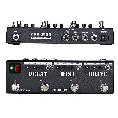 Effektpedal, ammoon-Multieffektpedal mit Delay-Tuner Pockmon-Streifen Overdrive FX-Loop-Tap-Speed-Effektpedal-Gitarre