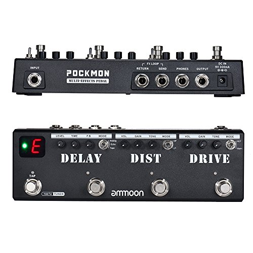 ammoon multi-effects Pedal Pockmon Strip mit Tuner Verzerrung der Verzögerung Overdrive FX Loop Tap Tempo Effektpedal-Gitarre