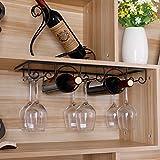 MeterMall Iron Wine Glass Hanging Holder Goblet Stemware Storage Organizer Rack Two Bottles of 3 Rows