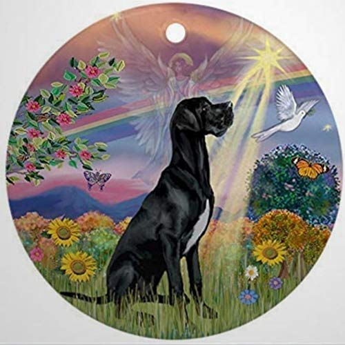 Cloud Angel & Black Great Dane Christmas Ornaments Round Novelty Ceramic Christmas Tree Decoration Ornament Gifts for Friends,for Family For Christmas