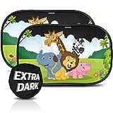 Parasol coche con protección UV extra oscura - autoadhesivo, para proteger del sol a bebés y mascotas, 2 parasoles para bebé con animales de safari