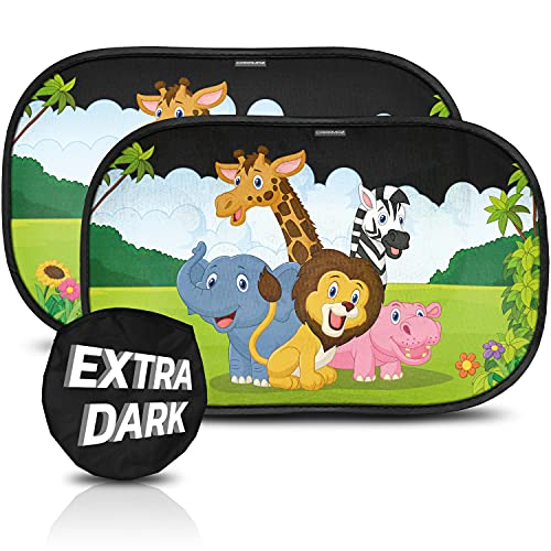 CARAMAZ Car Sun Shade for Baby Certified UV Protection- Extra Dark 51x31cm for Full UV Protection - Baby Window Shade - Sun Shade for Car Window Baby - Baby Car Shade - Sun Shades for Car Windows Baby
