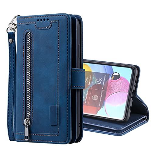 SCRENDY Funda para Xiaomi Redmi Note 10 Pro/Pro MAX, Carcasa Billetera con 9 Tarjetero Fundas Wallet Case para Mujeres con Libro Tapa con Cuero Premium Magnético-Azul