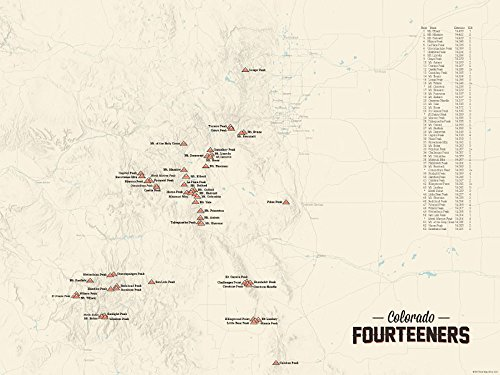 58 Colorado 14ers Map 18x24 Poster (Tan)