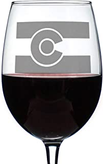 Colorado Flag - Cute Centennial State Wine Glass, Large 16.5 oz, Etched Sayings, Gift Box