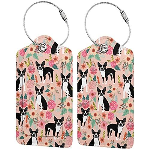 2 etiquetas para equipaje, etiquetas de cuero de la PU, etiquetas de la cubierta de privacidad con lazo de acero inoxidable para bolsa de viaje maleta Boston Spring Pink Boston Terrier Dog