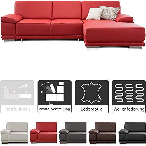 CAVADORE Ecksofa Corianne in Lederoptik / Couch inkl. Armteilverstellung und Longchair in modernem Design / 282 x 80 x 162 / Kunstleder, rot