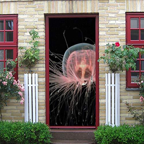 """Etiqueta engomada de la puerta del arte moderno 3d, calcomanía de la puerta de vinilo extraíble de la medusa inmortal aislada y adhesivo para la decoración del hogar, 30.3 """"x78.7"""" (77x200cm), juego d"""