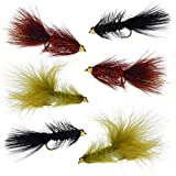 Woolly Bugger Trout Fly Fishing Streamer Assortment - 6 Flies