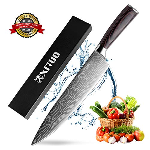 XITUO Chef Knife - Professional 8 inches High Carbon Stainless Steel Kitchen Knife with Ergonomic Handle, Ultra Sharp, Anti Corrosion for Slicing, Chopping or Dicing, Best Choice for Home Kitchen