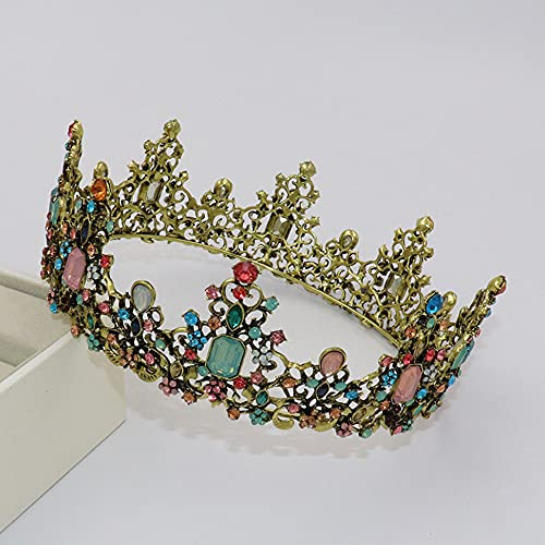 Baroque Queen Tiaras and Crowns for Women,Crystal Rhinestone Vintage Bridal Crown Princess Birthday Headband Tiaras for Prom Wedding Valentines Costume Party