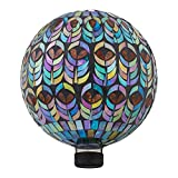 Alpine Corporation GRS926 Mosaic Gazing Globe w/Peacock Feather Pattern, 11 Inch Tall, Multi-Color