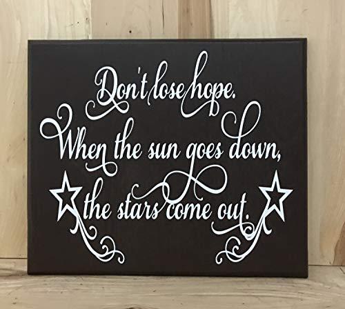 43LenaJon Don't lose hope cartel personalizado, cita inspiradora, letrero de madera con frases positivas, cartel de madera personalizado, inspirador arte de pared