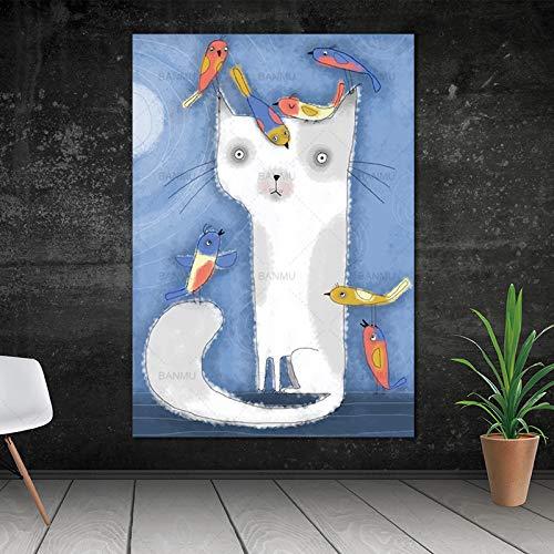 Geiqianjiumai cartoon kat dier decoratie poster linnen doek schilderij muurkunst schilderij kunst wandkunst print zonder frame
