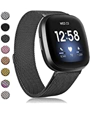 Amzpas Bands Compatible with Fitbit Versa 3 Fitbit Sense, Breathable Stainless Steel Loop Mesh Magnetic Adjustable Wristband for Fitbit Versa 3 / Sense for Women and Men(Colorful,Large)