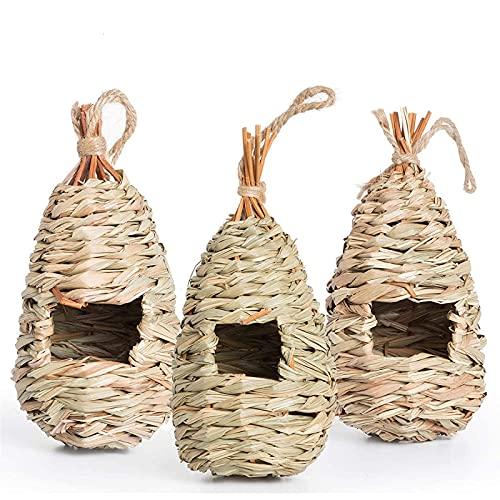 AQUEENLY Hummingbird House Set of 3 Hand Woven Hummingbird Houses Nest...