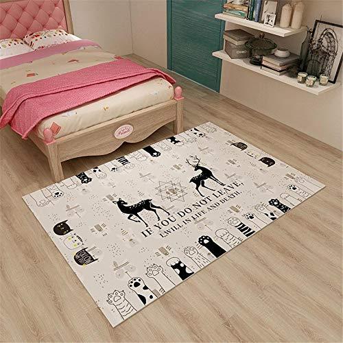 RUGMYW Absorción De Sonido Alfombra Outlet Patrón de Pata de Gato Beige marrón Negro Beige alfombras de Pasillo 180X250cm