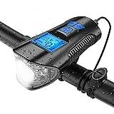 自転車 ライト 電子ディスプレイ画面 最大800ルーメン 明るい T6高輝度 防水 IPX5 軽量 USB充電式 長時間 懐中電灯 自転車用速度計 6種類のスピーカー付き ロードバイク ライト 4つの照明モード LED ライト 日本語説明書付き