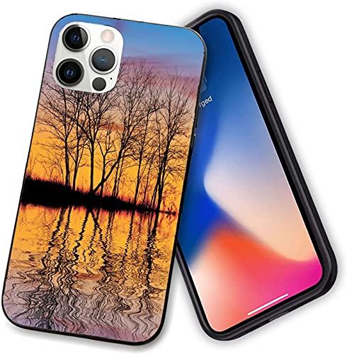 Funda compatible con iPhone 12 Series, de la madre tierra Sunset por The Lake with Fall Trees Forest, protección completa para iPhone 12 Pro - 6.1 pulgadas