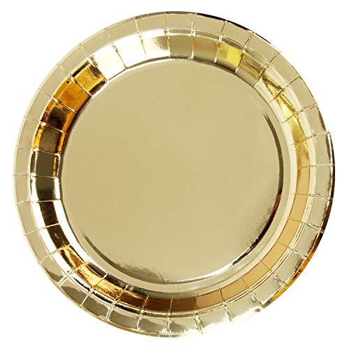 Packung mit 100 Gold-Einweg-Papptellern aus glänzender Folie, 9-Zoll-Runde, Partyzubehör für Vorspeise, Mittagessen, Abendessen oder Dessert