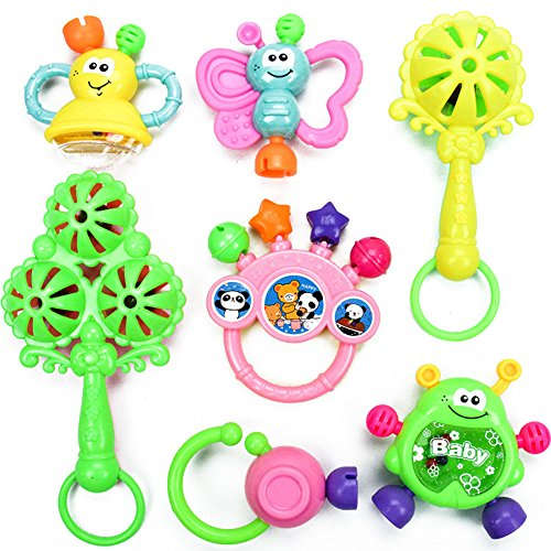 Best Prices! Alician Funtoy for 7pcs Baby Cute Hand Jingle Bells Puzzle Shaking Rattle Toys for Kids...