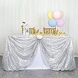 ShinyBeauty Tovaglia con paillettes-125x180 cm-Argento Tessuto con Paillettes Tovaglia a Righe da Matrimonio Tovaglia da Festa usata Tovaglia da Tavolo Argento luccicante all'Ingrosso