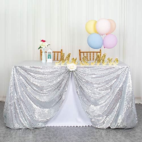 ShinyBeauty Nappe Sequin-125x180cm-Argent Sequin Tissu Mariage Twinkle Little Star Décorations Nappe Rectangle Party Nappe Nappe sans Couture pour Banquet de fête Fête de Mariage Noël Brithday Decor