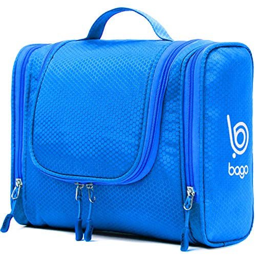 Bago Hanging Toiletry Bag For Women & Men - Leak Proof Travel Bags for Toiletries with Hanging Hook & Inner Organization to Keep Items From Moving - Pack Like a PRO (Blue)