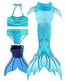 Traje de Baño Niña Cola de Sirena Cosplay Mermaid Bikini de Baño Conjuntos, Set 4 Piezas