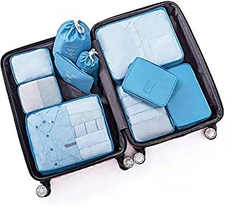 Packing Cubes Waterproof Clothes Storage Bag 10 Set Pouches Laundry Organiser Bags with Shoe Bag for Travel Or Household QDDSP (Color : E)