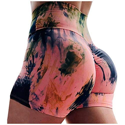 Women's Tie Dye Workout Shorts Scrunch Booty Gym Yoga Pants High Waist Butt Lifting Sports Leggings