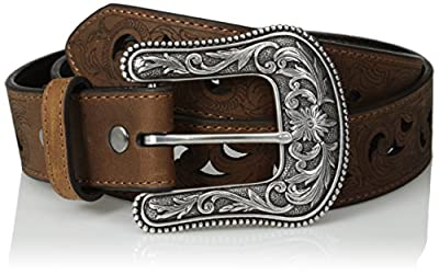 "Ariat Scroll Paisley Pierced Belt Brown LG (38"" Waist)"