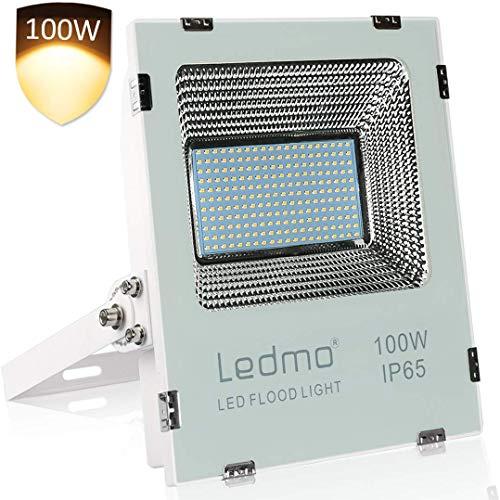 LEDMO 100W Projecteur LED Exterieur Anti-éblouissant 3000K Blanc Chaud Spot LED Extérieur IP66 étanche, projecteur LED 4700lm, 250W Équivalent d'halogène Projecteur Jardin LED Flood Lights