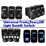 Ronben Universal Car 3Pcs 5-Pins Front&Rear Lamp LED Light Laser Rocker Backlit Switch