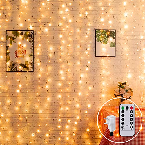 2M x 2M Curtain Light Mains Powered Window Curtain Light Plug in Hanging Backdrop Fairy Lights Icicle Lights Linkable,204 LED,Remote for Outdoor Wall Balcony Home Decor(Warm White)