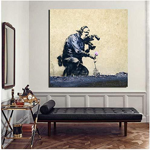 Banksy Graffiti Art Met Betekenis Wall Art Canvas Schilderij Posters Prints Modern Schilderij Muur Foto Voor Woonkamer Home Decor 50x50cm Geen Frame