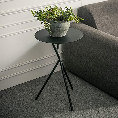 SHUMEISHOUT Furniture Coffee Table, Small Coffee End Table, Metal Round Coffee Tea Snack Side End Table Sofa Bedside Hallway Furniture Bedroom Living Room 38 * 57CM (Color : Black)