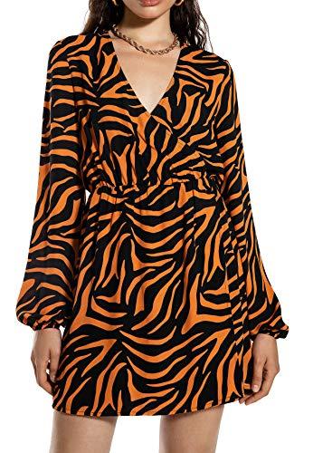 Ivy Revel DE Straight Neckline Swimsuit Costume da Bagno Bambino, Multicolore (Orange Zebra Print 800), 44 (Taglia Produttore: 38) Donna