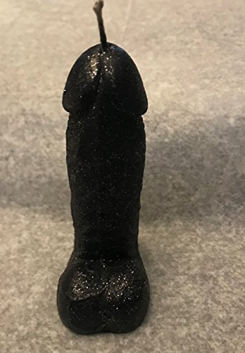 Penis Glitter Candle 4 1/2 Inch Tall Black in gift box