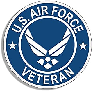 American Vinyl Round U.S. Air Force Veteran Sticker (USAF Bumper Airman Vet)