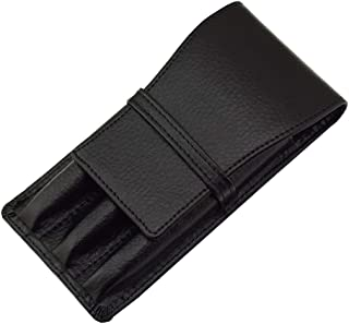 Leather Fountain Pen case for 3 Pens Pouch Separate Slot Organizer Carrying case Black Color