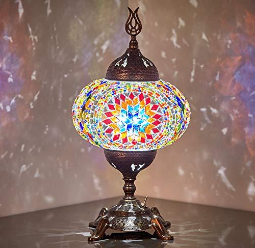 Lámpara de mesa con mosaico, funciona con pilas, con bombilla LED integrada, turco marroquí, hecho a mano, mesa de mosaico, mesita de noche, lámpara de noche con foco LED, sin cable (fuego espacial)