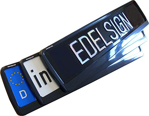 EDELSIGN Kennzeichenhalter Mod. FUTUR (1 Stück) - VECTOR DESIGN TOP Qualität, ideal für gebogene Stoßstangen, inkl. 4 x Chrom Ventilkappen und Edelstahl Befestigungsmaterial. Passend für alle EU-Norm Kennzeichen 52 x 11 cm